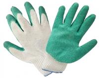 Перчатки X-PERT 18-05 х/б одинар. облив бело-зеленые