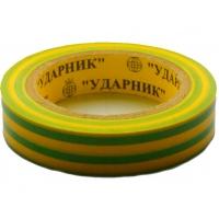 Изолента ПВХ УДАРНИК желтая/зеленая 0,19*16*15 м/10/200
