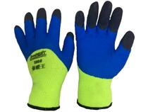 Перчатки X-PERT 12-12 х/б одинар. облив, пенка, желто-синие